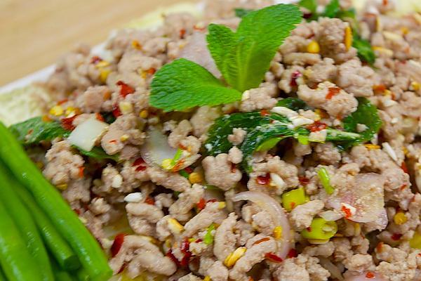 varkensgehakt salade laab moo